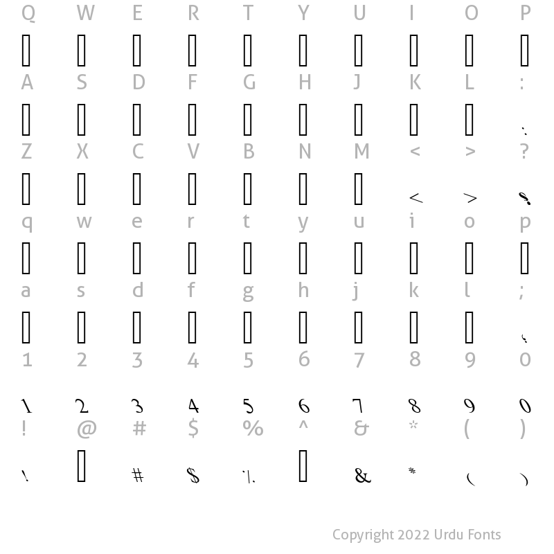 Character Map of Urdulife Italic Outline Regular